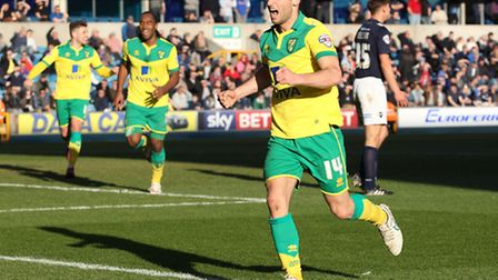 Wes Hoolahan celebrates putting Norwich City 3-0 up at Millwall. Picture: Paul Chesterton/Focus Imag