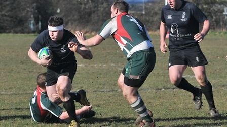 Prop Dane Canning in action for Holt in their victory at Basildon. Picture: Stuart Young