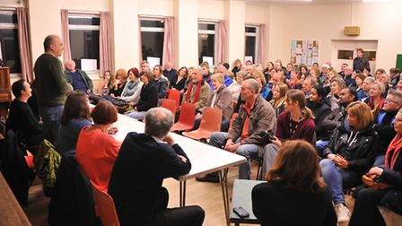 The packed public meeting of 'We're Backing Hewett' at St Alban's Church Hall, Grove Walk, Norwich.P