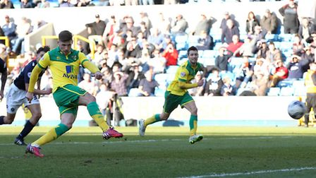 Gary Hooper scores Norwich City's second goal from the penalty spot. Picture: Paul Chesterton/Focus