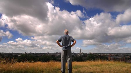 Norwich City legend Duncan Forbes on Mousehold Heath where in his time as a player he used to train.