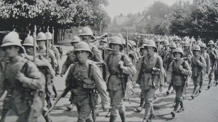 The long march: men of the Norfolks in tropical kit en route to Gallipoli and a campaign of defeat a
