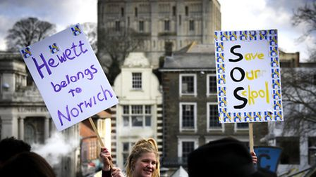Protest march through Norwich against Hewett School becoming an academy.Picture: ANTONY KELLY