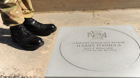 The commemoration of Wymondham's Harry Daniels at the town's war memorial, Norfolk's first Victoria