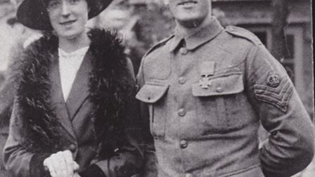 Harry Daniels VC pictured with his wife, Kathleen, during his hero's welcome home in June 1915.