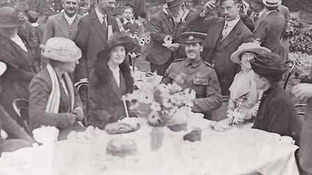 Star attraction: Harry Daniels VC with his wife Kathleen on his right at a garden party during his h