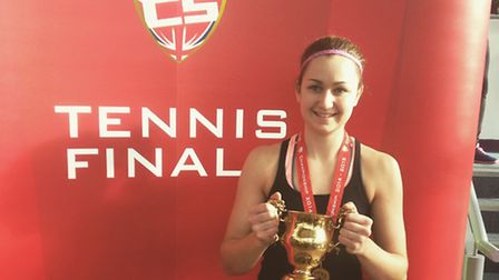 Olivia Nicholls with her women's singles title at the BUCS Tennis Individual Championships at Loughb