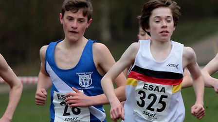 English Schools Cross Country Championships, Jack White (Neatherd High), right, 18th junior boys. Pi