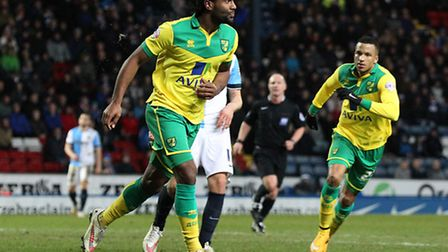 Cameron Jerome of Norwich celebrates scoring his sides equalising goal during the Sky Bet Championsh