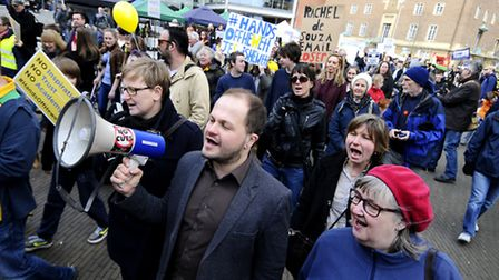 Hundreds of people marched on Saturday against plans for the Hewett to become an academy. Picture: A