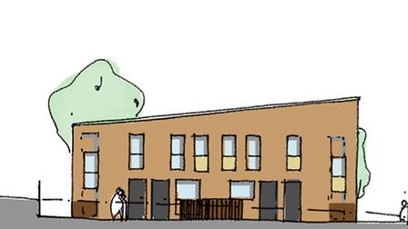 A sketch of what the new homes in Hansard Close in Mile Cross would look like. Pic: Norwich City Cou