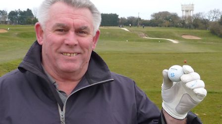 Jim McQuattie celebrating his hole in one at Mundesley Golf Club. Picture: RICHARD BATSON