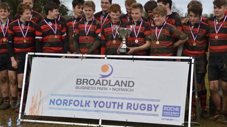 Wymondham U15s celebrate their win in the Broadland Business Park Norfolk Youth Cup.