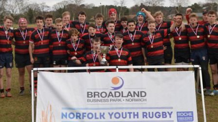 Wymondham U16s celebrate their win in the Broadland Business Park Norfolk Youth Cup.
