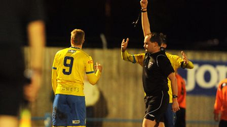 Lynn's Michael Frew was sent off at the end of the first half. Picture: Ian Burt