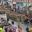 Crowds packed Dereham Market Place to welcome home The Light Dragoons in 2012. Picture: Ian Burt