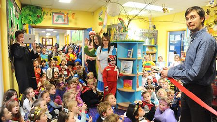 The new library at Stibbard Primary School was opened by local author David Bedford. Picture: Ian Bu