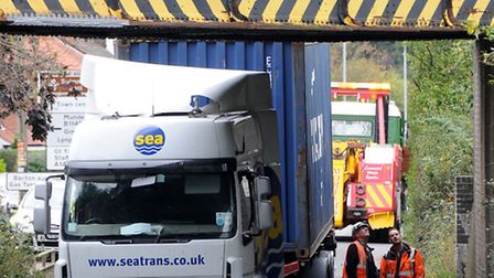 Lorry crashes into Cromer Road rail bridge in North Walsham.Picture: ANTONY KELLY