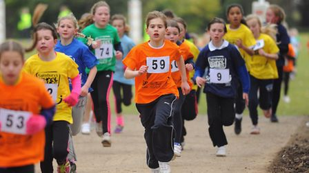 Winter School Games cross country at Gresham's School, Holt. The Year 4 girls race. Picture: DENISE
