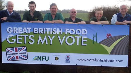 NFU banner is unveiled at Uphouse Farm in Norfolk