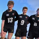 Langley School rugby players who have been signed up for the academy of the Leicester Tigers Club, f