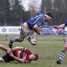 Action from Diss (blue) v Maidstone in the Intermediate Cup at Mackenders. Picture: Jon Bulloch