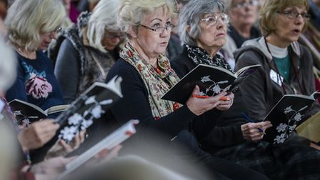 Fakenham Choral Society rehearse for their evening concert in aid of the Norfolk Hospice. Picture: M