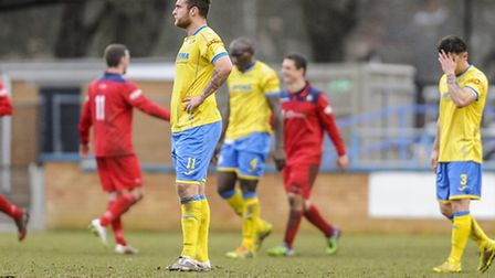 Action from the 0-4 loss of King's Lynn Town v Rushall Olympic - Lynn go 0-3 down. Picture: Matthew