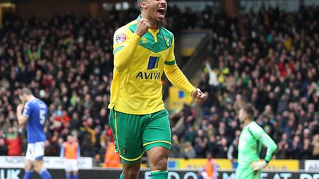 Lewis Grabban of Norwich celebrates scoring his sides 2nd goal from a shot by Cameron Jerome of Norw