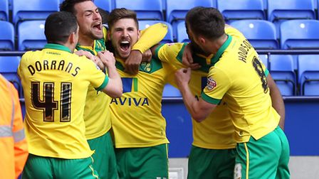 Norwich City players celebrate Gary Hooper's winning goal. Picture: Paul Chesterton/Focus Images