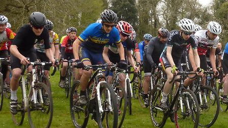 The start of the Senior race at the second round of the Norfolk Summer Cyclo-cross Series at New Ecc