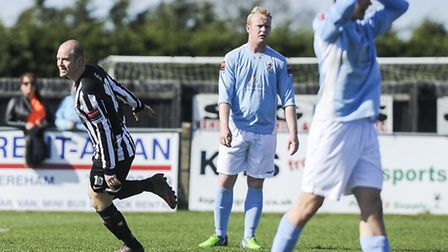 Action from Dereham Town v Brentwood Town at Aldiss Park - Luke Tuttle celebrate scoring from distan
