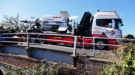 The Bloodhound missile is transported to Neatishead over Wroxham Bridge. Picture: DENISE BRADLEY