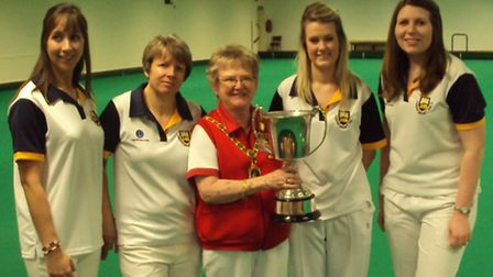 Fours Winners, from left, Louise Knights, Jackie Devitt, president Anne Read, Louise Catchpole and B