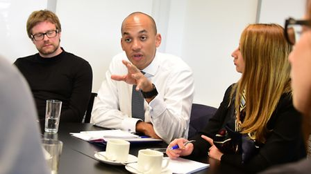 Chuka Umunna, Labour's shadow business minister, meets with a group of entrepreneurs from Norwich's