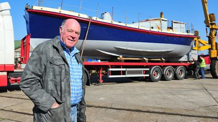 Peter Johnson with the lifeboat Louise Stephens.