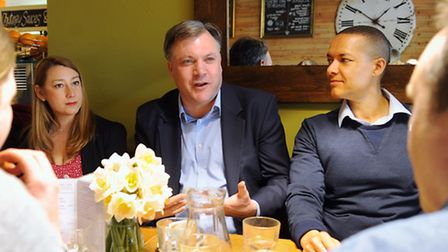 Shadow chancellor, Ed Balls, centre, meets with Labour candidates Jess Asato, Clive Lewis, back righ