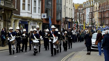 St George's Day parade through Cromer by the Scouts, Beavers and Guides of North NorfolK the patron