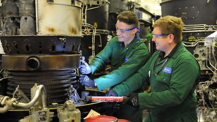 KLM Engineering aviation apprentices show off their skills at the KLM apprentice event. Jack Lain, l