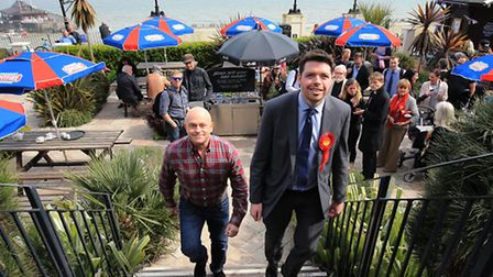 Will Scobie, Labour parliamentary candidate for South Thanet is joined by actor Ross Kemp during a G