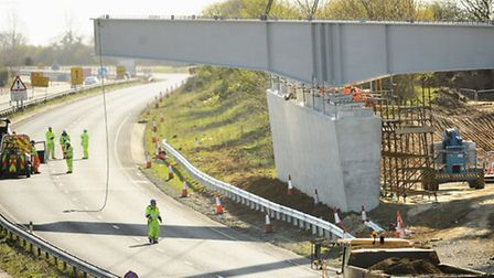 Work last weekend on the new bridge across the A47 at Postwick. Drivers face further disruption this