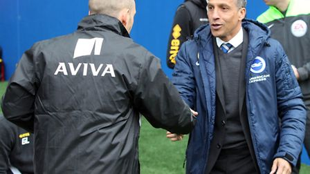 Norwich manager Alex Neil and Brighton boss Chris Hughton before City's 1-0 Sky Bet Championship vic