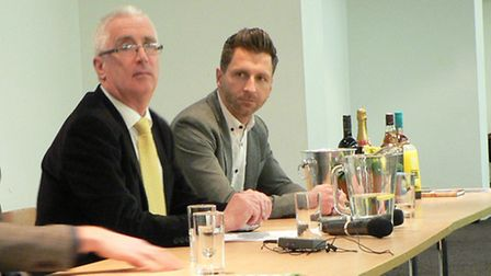 Chairman Robin Sainty (left) with Darren Eadie at the Canaries Trust AGM in February.