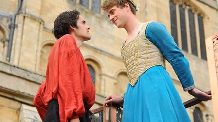The Lord Chamberlain's production company rehearse Romeo and Juliet at the Cathedral cloisters. Rome