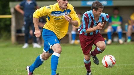 Matt Blake scored the only goal in Norwich United's FA Cup match against Deeping Rangers earlier thi