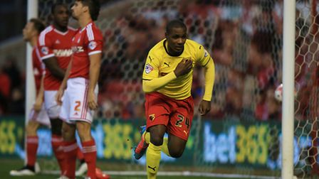 Watford's Odion Ighalo celebrates scoring the opening goal during the Sky Bet Championship match at