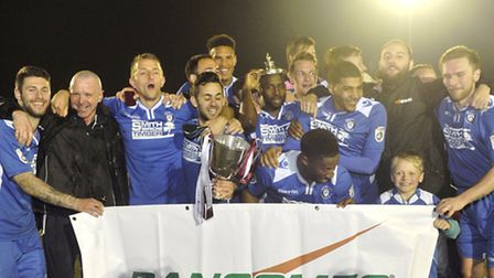 Lowestoft Town celebrates winning the Suffolk Premier Cup. Picture: Su Anderson