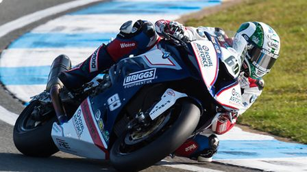 Peter Hickman (RAF Reserves BMW 1000) claimed two superb finishes at Donington. Picture: Barry Clay