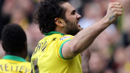 Norwich City's Bradley Johnson celebrates his goal against Ipswich Town during the Sky Bet Champions