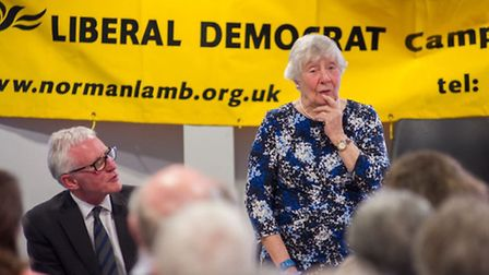 Baroness Shirley Williams with Norman Lamb, Liberal Democrat candidate for North Norfolk, at the lau